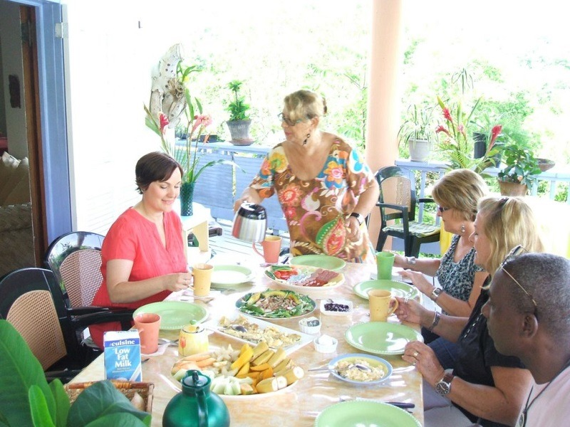 breakfast at our st lucia guesthouse